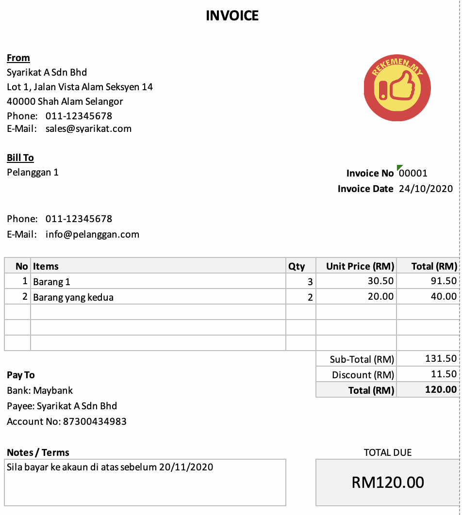 Cara Buat Invoice Guna Excel