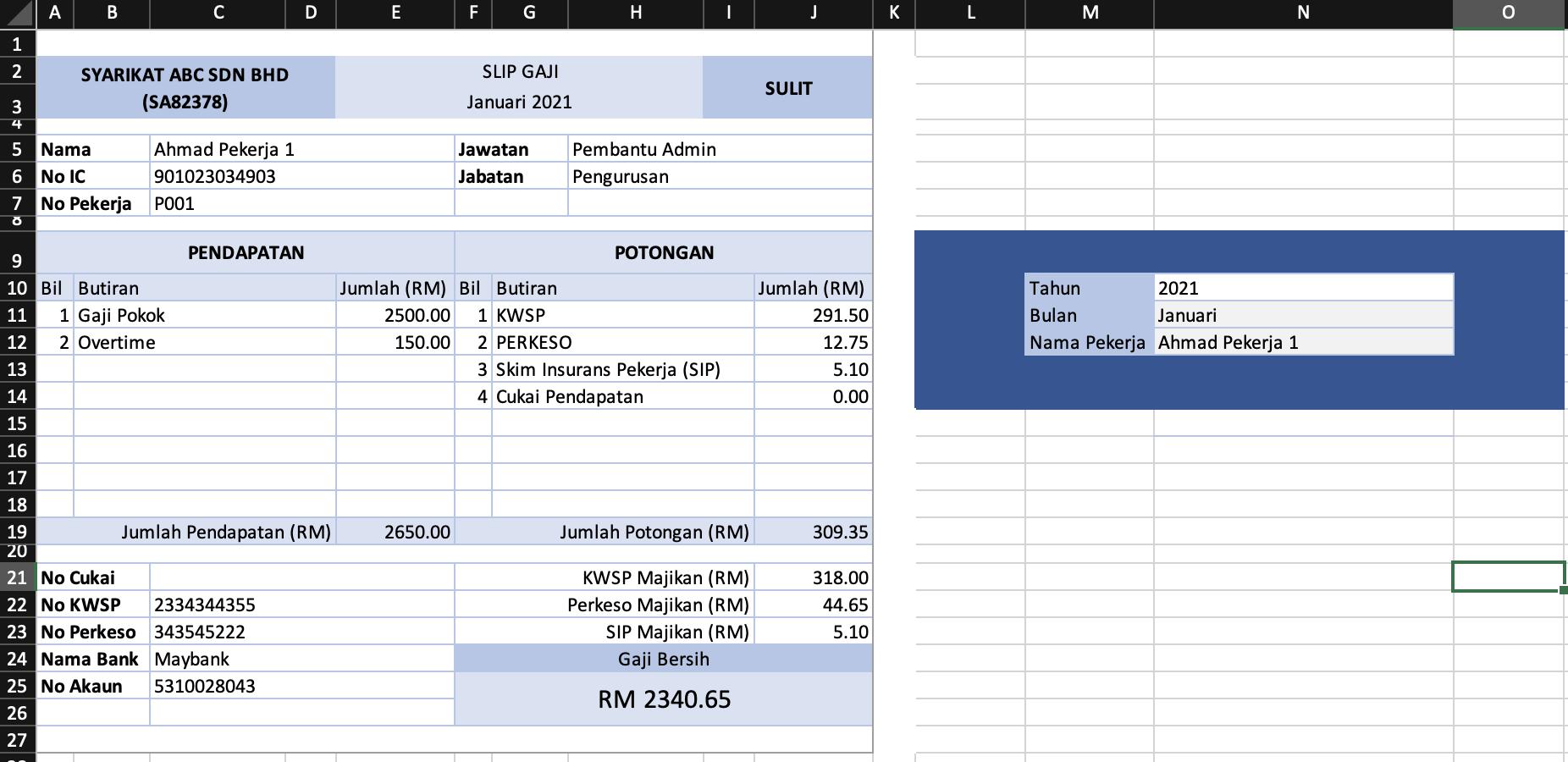 Template Slip Gaji Excel