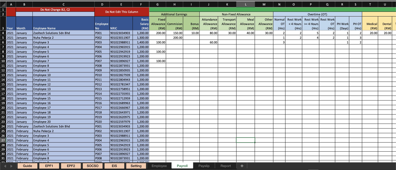 Payroll Excel - Payroll Tab