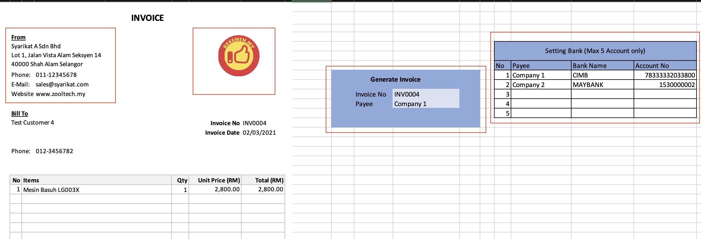 Rekod Jualan Excel & Inventori