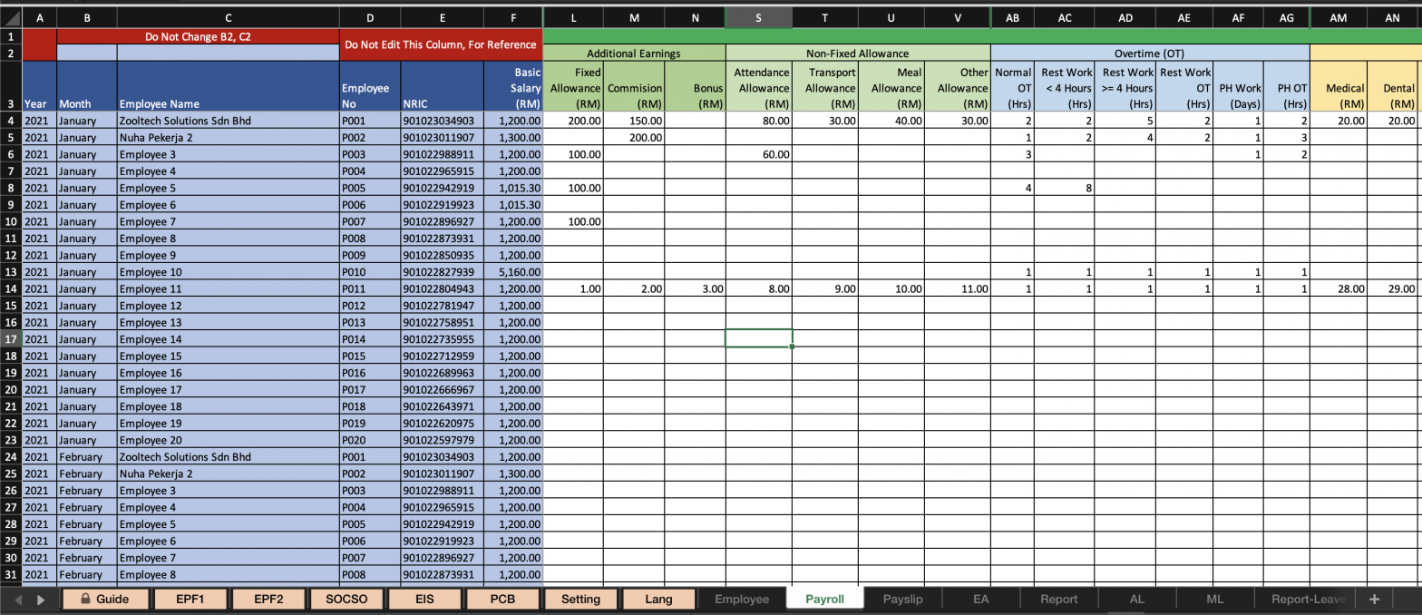 Template Payroll Excel Malaysia