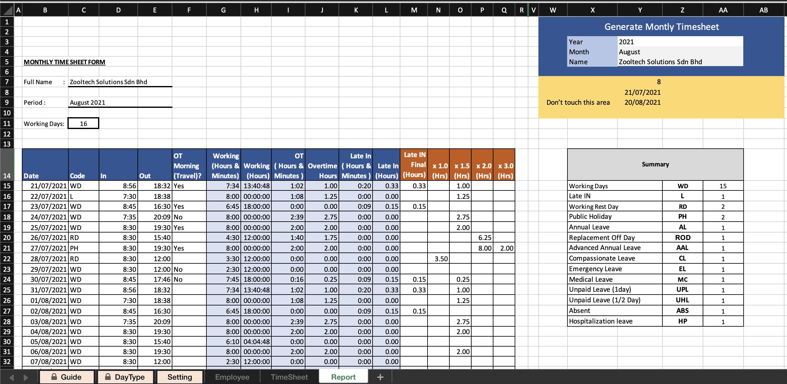 Laporan Timesheet Excel, Timesheet Excel KIra OT