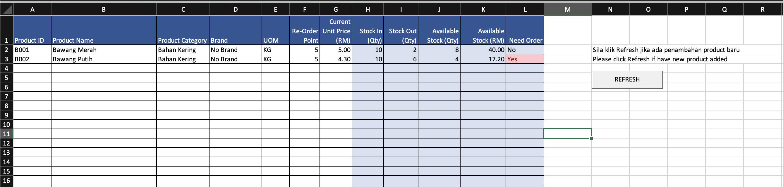 Rekod Jualan Harian Excel - Products