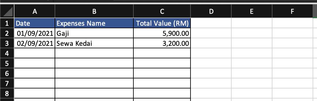 Rekod Jualan Harian - Expenses