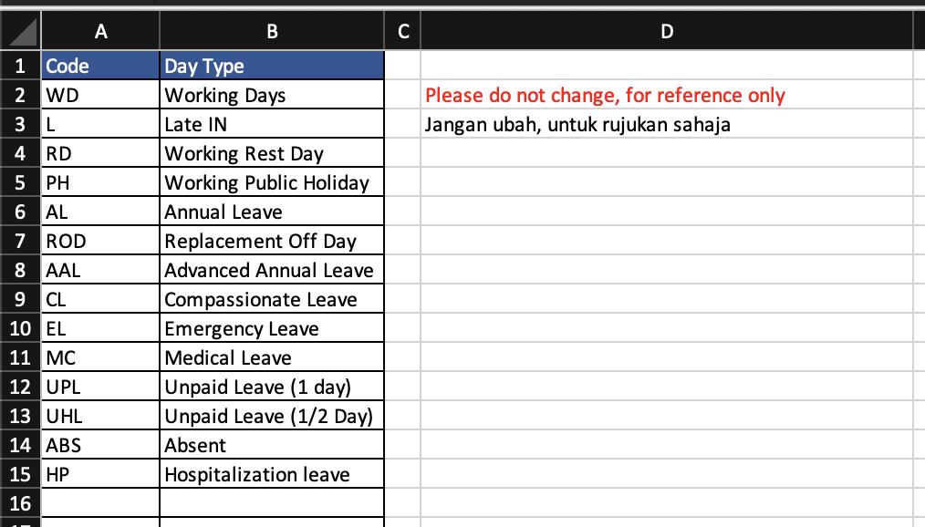 Timesheet Excel - DayType
