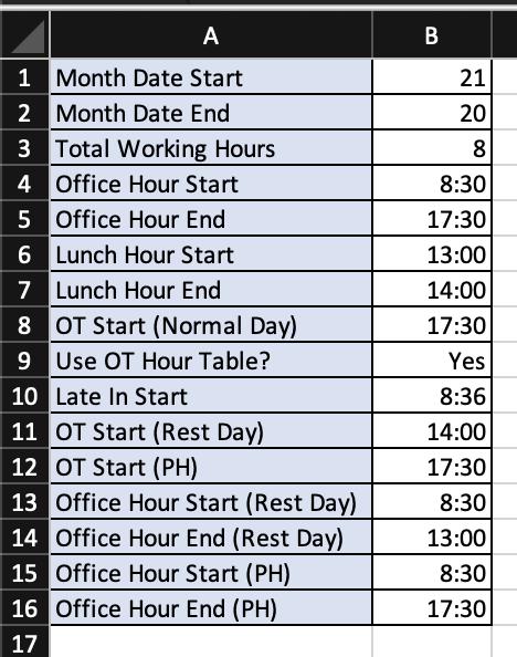 Timesheet Excel - Setting Masa